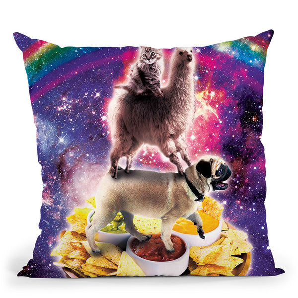 Space Cat Llama Pug Riding Nachos Throw Pillow By Skyler Hill