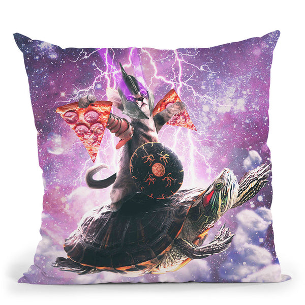 Lazer Warrior Space Cat Riding Turtle With Pizza Throw Pillow By Skyler Hill