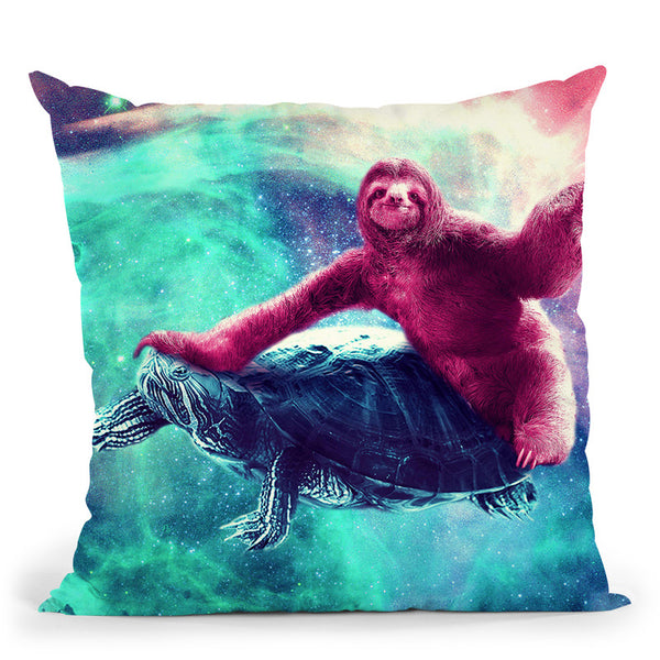 Crazy Funny Space Sloth Riding On Turtle Throw Pillow By Skyler Hill