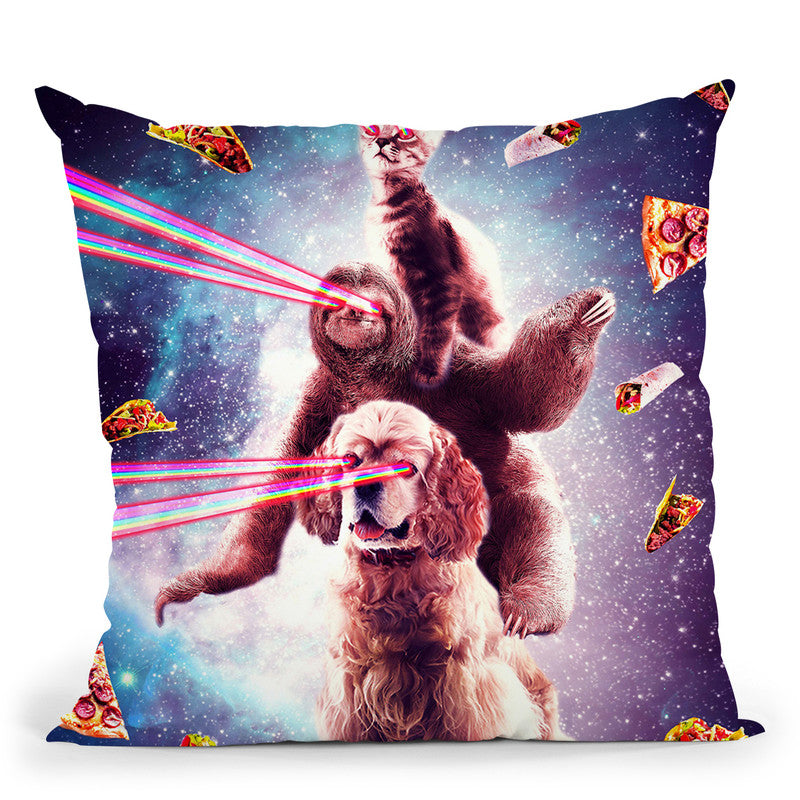 Laser Eyes Space Cat Riding Sloth, Dog - Rainbow Throw Pillow By Skyler Hill