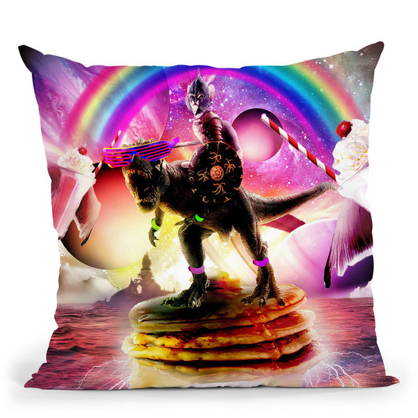Cat Riding Dinosaur With Pancakes And Milkshake Throw Pillow By Skyler Hill
