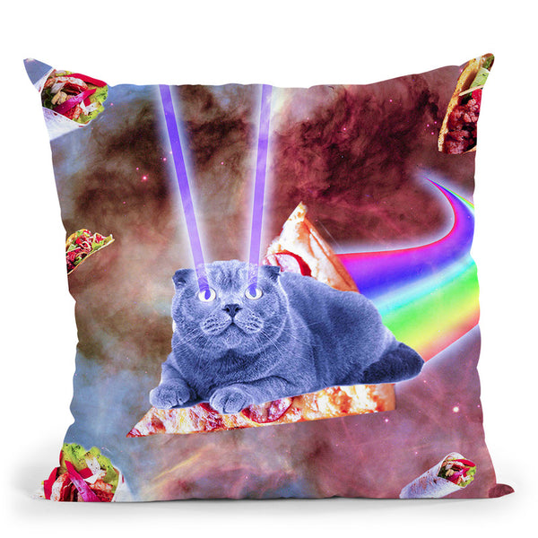 Laser Eyes Space Cat Riding Rainbow Pizza Throw Pillow By Skyler Hill