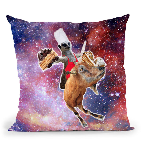 Lemur Riding Goat Unicorn Eating Cake Throw Pillow By Skyler Hill