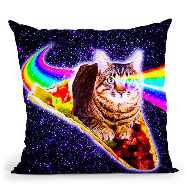 Rainbow Laser Eyes Galaxy Cat Riding Taco Throw Pillow By Skyler Hill