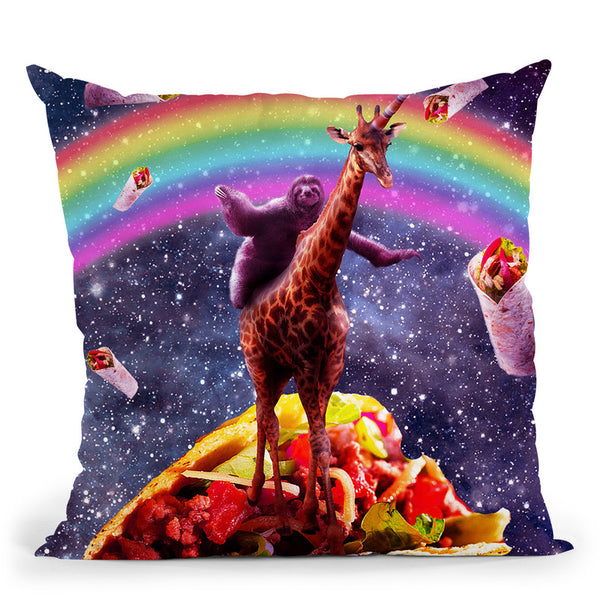 Space Sloth Riding Giraffe Unicorn - Taco & Burrito Throw Pillow By Skyler Hill