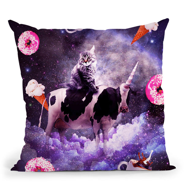 Outer Space Cat Riding Cow Unicorn - Donut Throw Pillow By Skyler Hill