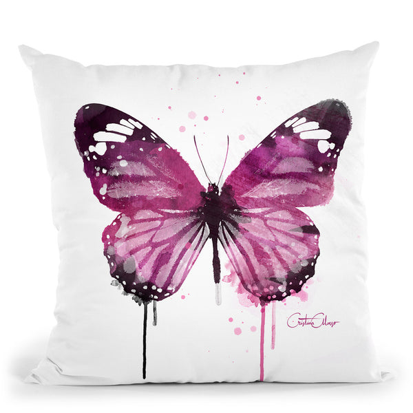 Amethyst Butterfly Throw Pillow By Cristina Alonso