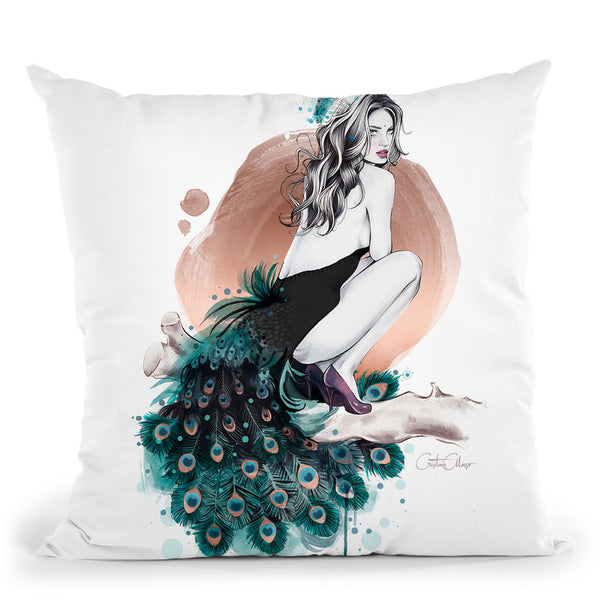 Peculiar Peacock Throw Pillow By Cristina Alonso