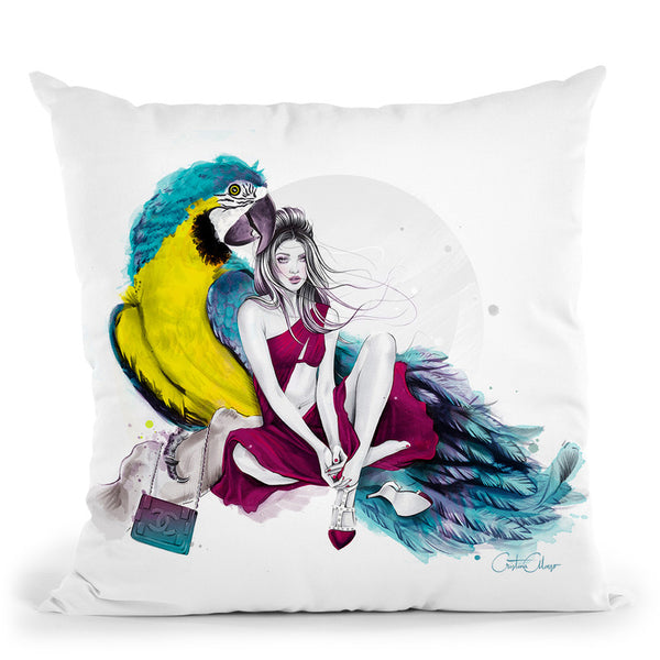 Precious Parrot Throw Pillow By Cristina Alonso