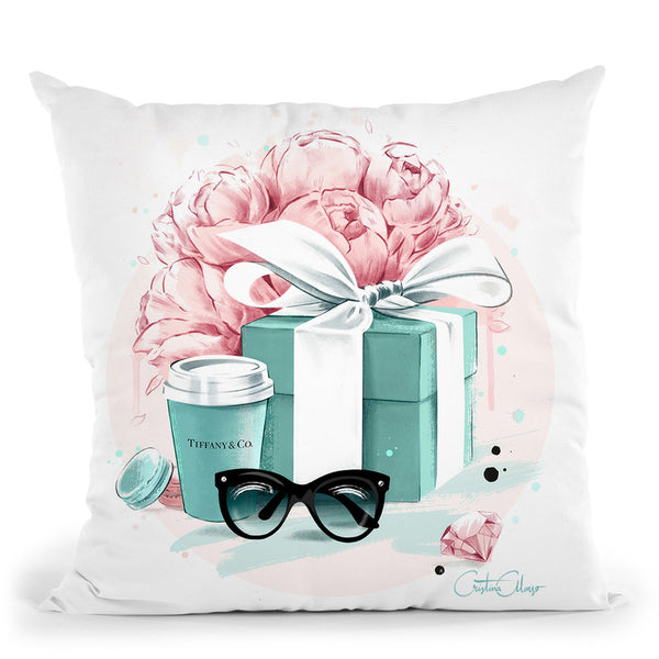 Blue Box & Peonies Throw Pillow By Cristina Alonso