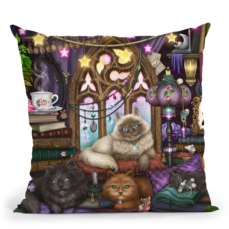 Ashwood Cats Black Throw Pillow By Tate Licensing