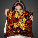 Fire Tiger Throw Pillow By Tate Licensing