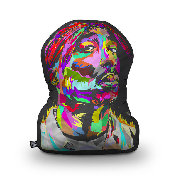 Tupac Black Shaped Throw Pillow by Technodrome1 - by all about vibe