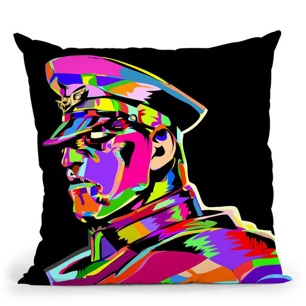 M Bison Throw Pillow By  Technodrome1