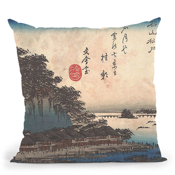 Autumn Moon Atishiyama Throw Pillow By Tesai Hokuba