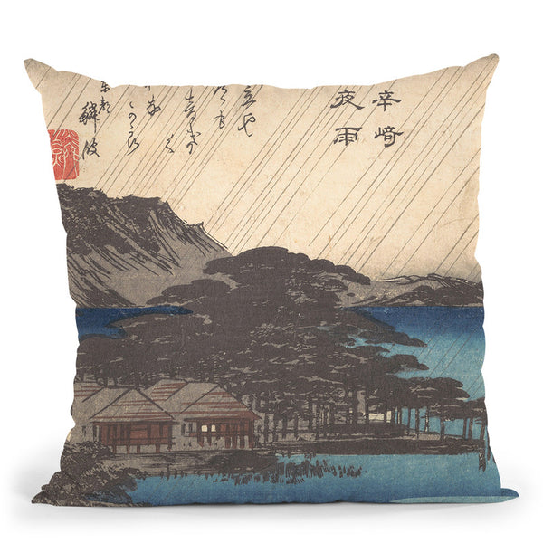 Rain At Karasakipine Tree Throw Pillow By Tesai Hokuba