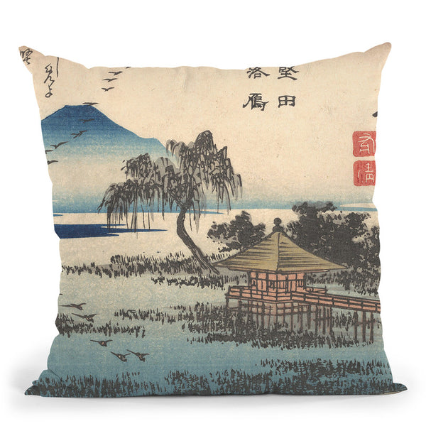Returning Geese Atkatata Throw Pillow By Tesai Hokuba