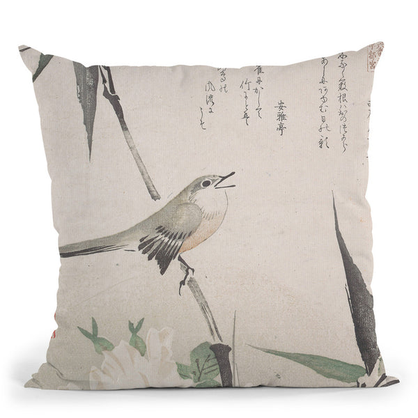 Roses And Bamboowith Nightingale Throw Pillow By Tesai Hokuba