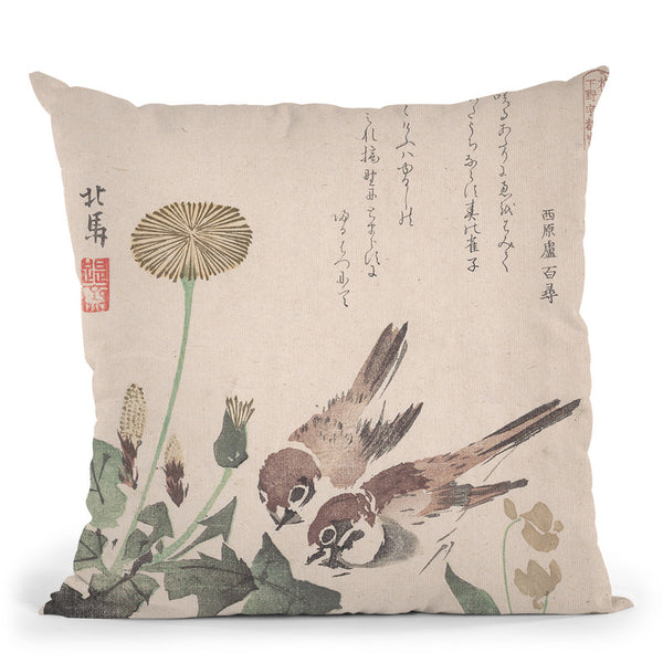 Sparrows And Dandelions Throw Pillow By Tesai Hokuba