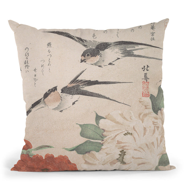 Swallows And Peonies Throw Pillow By Tesai Hokuba
