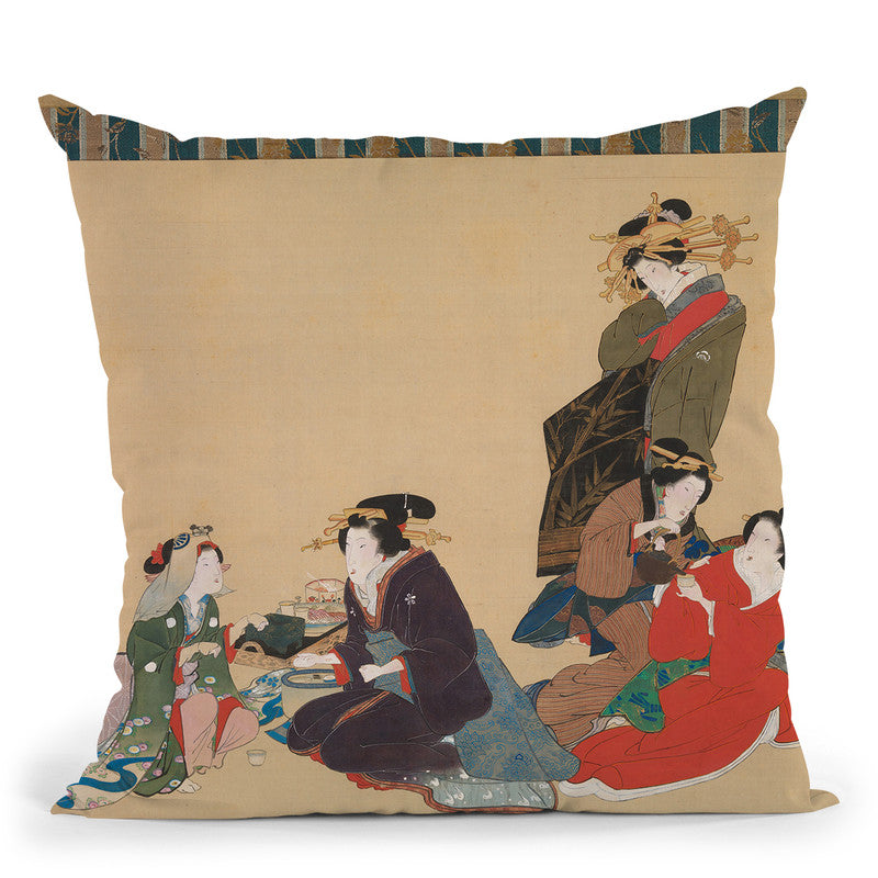 Five Beauties Throw Pillow By Tesai Hokuba