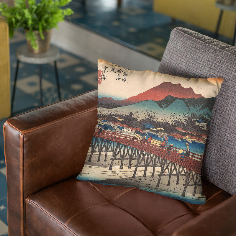 Kyoto, Sanjo Ohashi Throw Pillow By Tesai Hokuba