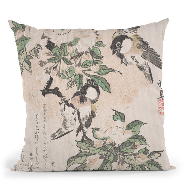 Marsh-Tits And Crabapple Flowers Throw Pillow By Tesai Hokuba