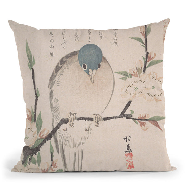 Mountain Dove Andpeach Flowers Throw Pillow By Tesai Hokuba