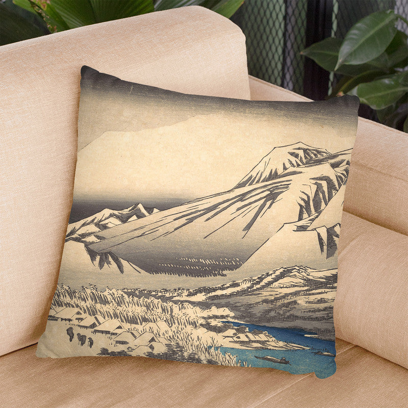 Evening Snow On Mount Hira Throw Pillow By Utagawa Hiroshige