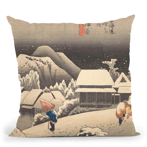 Evening Snow Throw Pillow By Utagawa Hiroshige