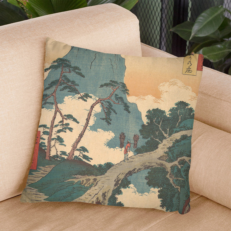 Goka No_, Higo Province Throw Pillow By Utagawa Hiroshige