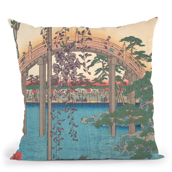 In The Kameido Tenjinrine Compound Throw Pillow By Utagawa Hiroshige