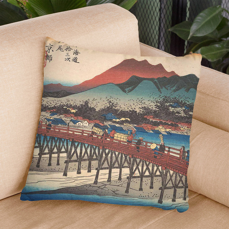 Kyoto, Sanjo Ohashi Throw Pillow By Utagawa Hiroshige