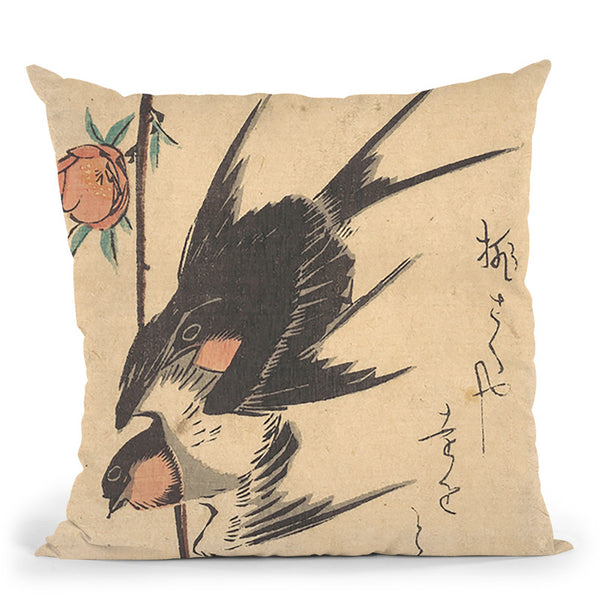 Pear Blossoms And Swallows Throw Pillow By Utagawa Hiroshige
