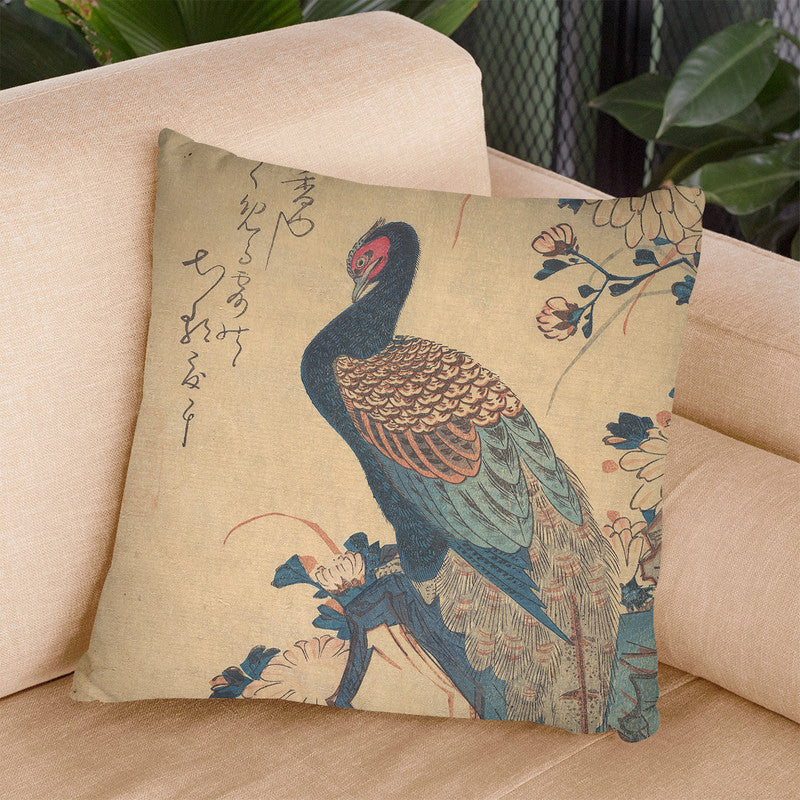 Pheasant With Chrysanthemums Throw Pillow By Utagawa Hiroshige