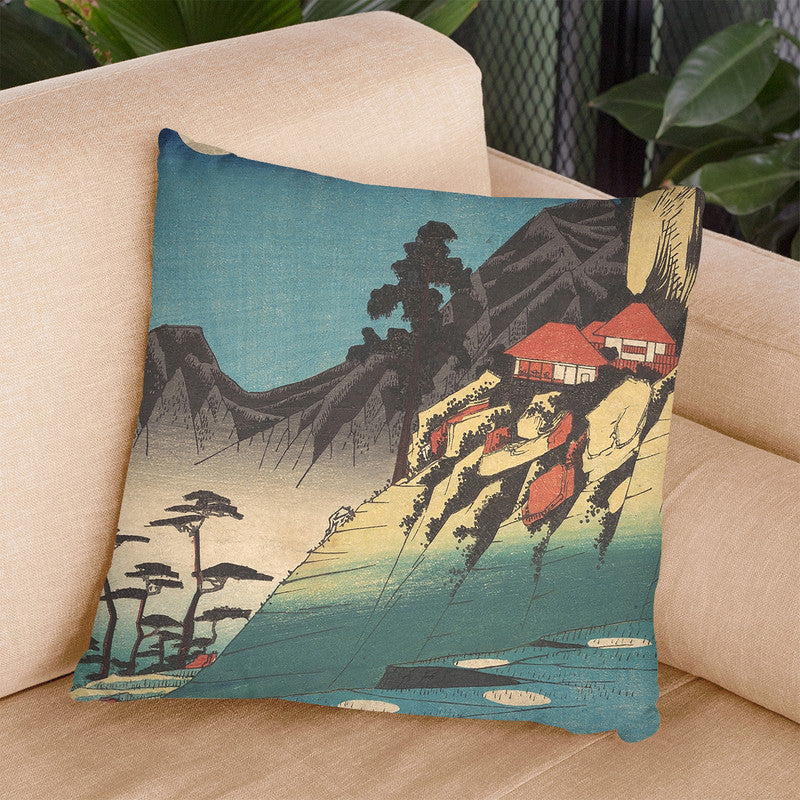 Reflections Of The Moon In The Ricefields Of Sarashina Ininshu Throw Pillow By Utagawa Hiroshige