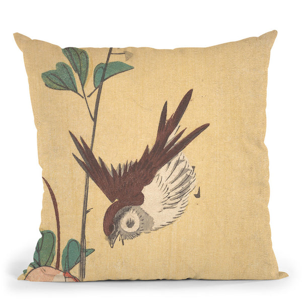 Roses And Sparrow Throw Pillow By Utagawa Hiroshige