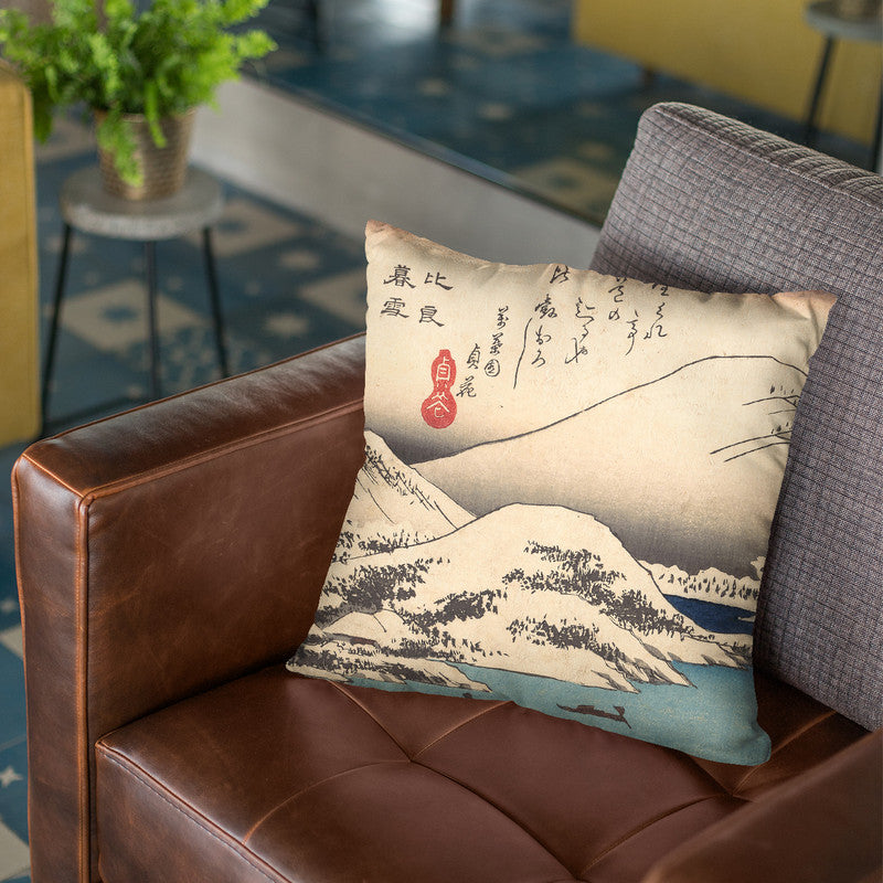 Snow At Mt Hira Throw Pillow By Utagawa Hiroshige