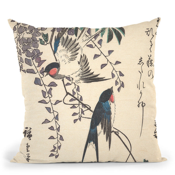 Swallow And Wisteria Throw Pillow By Utagawa Hiroshige