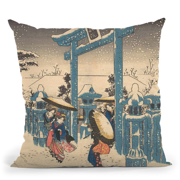 The Gionrine In Snow Throw Pillow By Utagawa Hiroshige