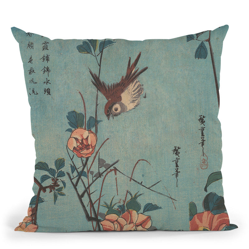 Titmouse And Camellias Throw Pillow By Utagawa Hiroshige