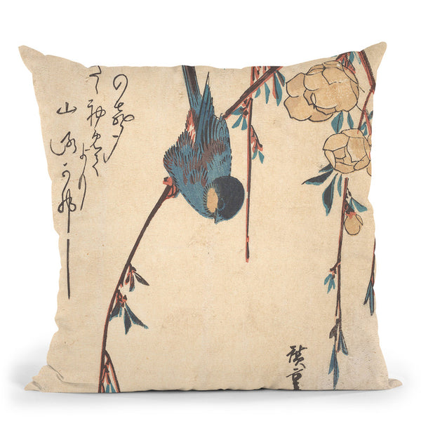 Weeping Cherry Throw Pillow By Utagawa Hiroshige