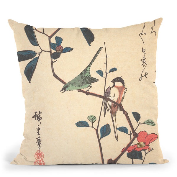 White-Eye And Titmouse On A Camellia Branch Throw Pillow By Utagawa Hiroshige