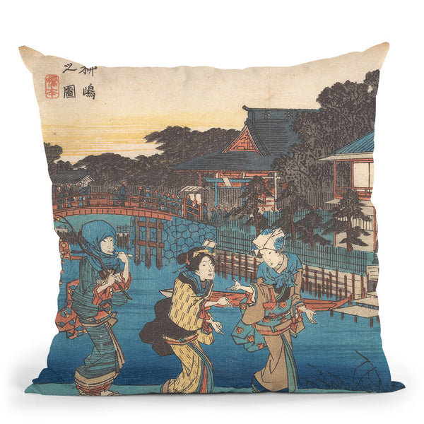 Yanagishima No Zu Throw Pillow By Utagawa Hiroshige