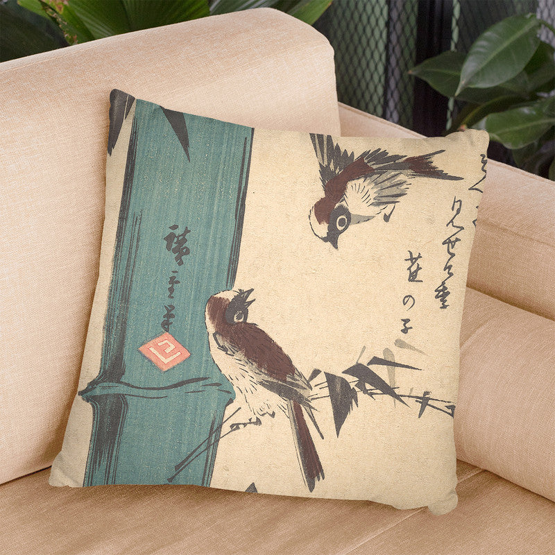 Bamboo And Sparrows Throw Pillow By Utagawa Hiroshige