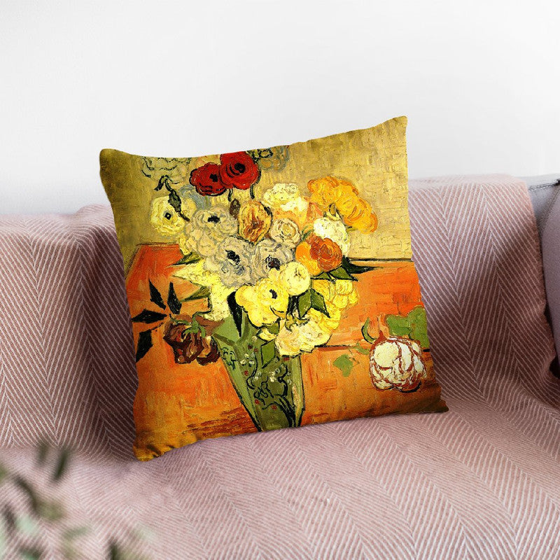 Japanese Vase With Roses Throw Pillow By Van Gogh