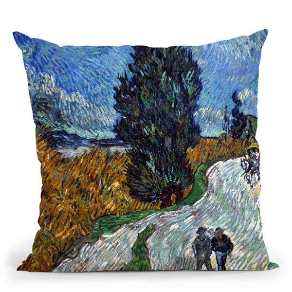 Road With Cypress And Star Throw Pillow By Van Gogh
