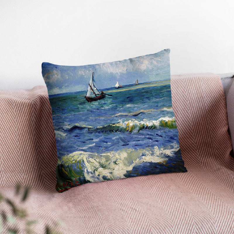 Seascape Near Les Saintes Marie Throw Pillow By Van Gogh
