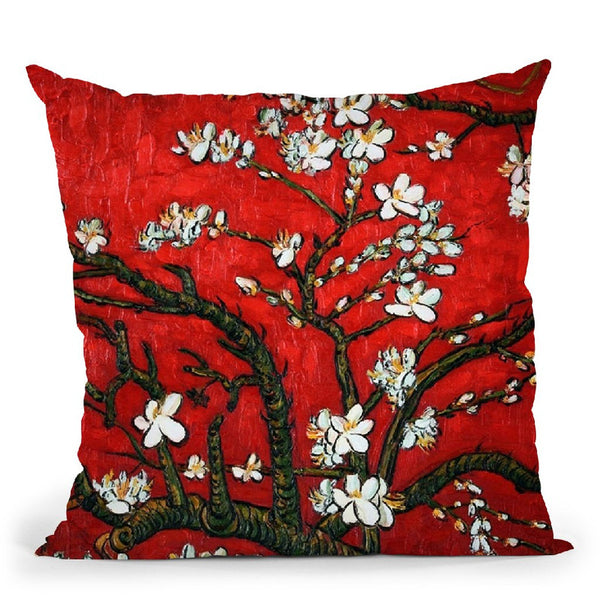 Almond Blossom Red Throw Pillow By Van Gogh