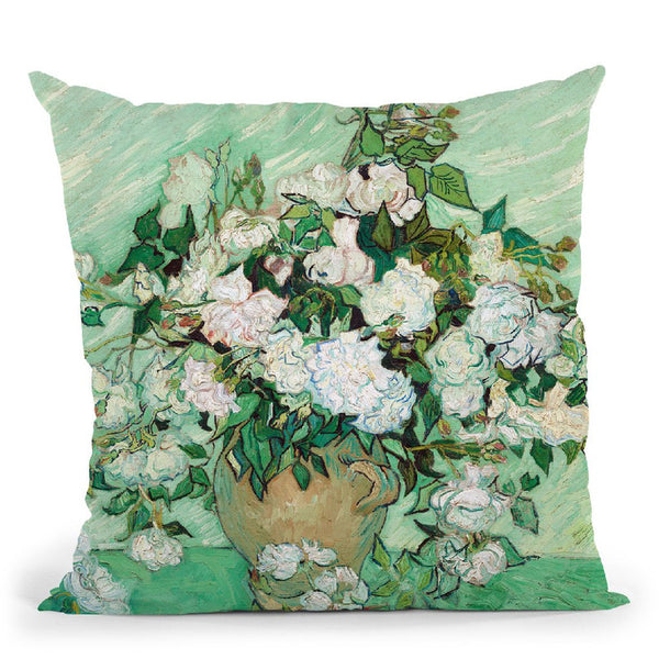 Still Life Vase With Pink Roses Throw Pillow By Van Gogh